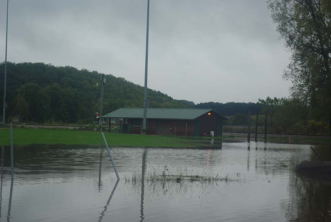 Black Earth, Community Park, concession stand damaged in last year's flood.