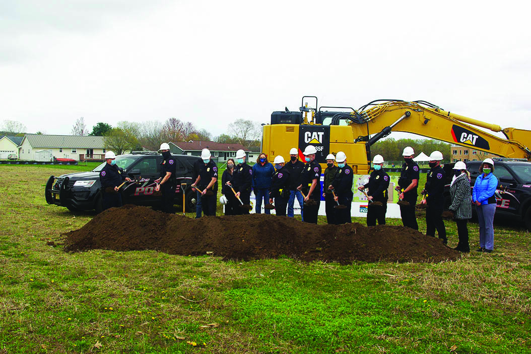 At right, Officers and Administrative staff from the Sauk Prairie Police Department are thankful for the overwhelming community support they have received for their new building project.