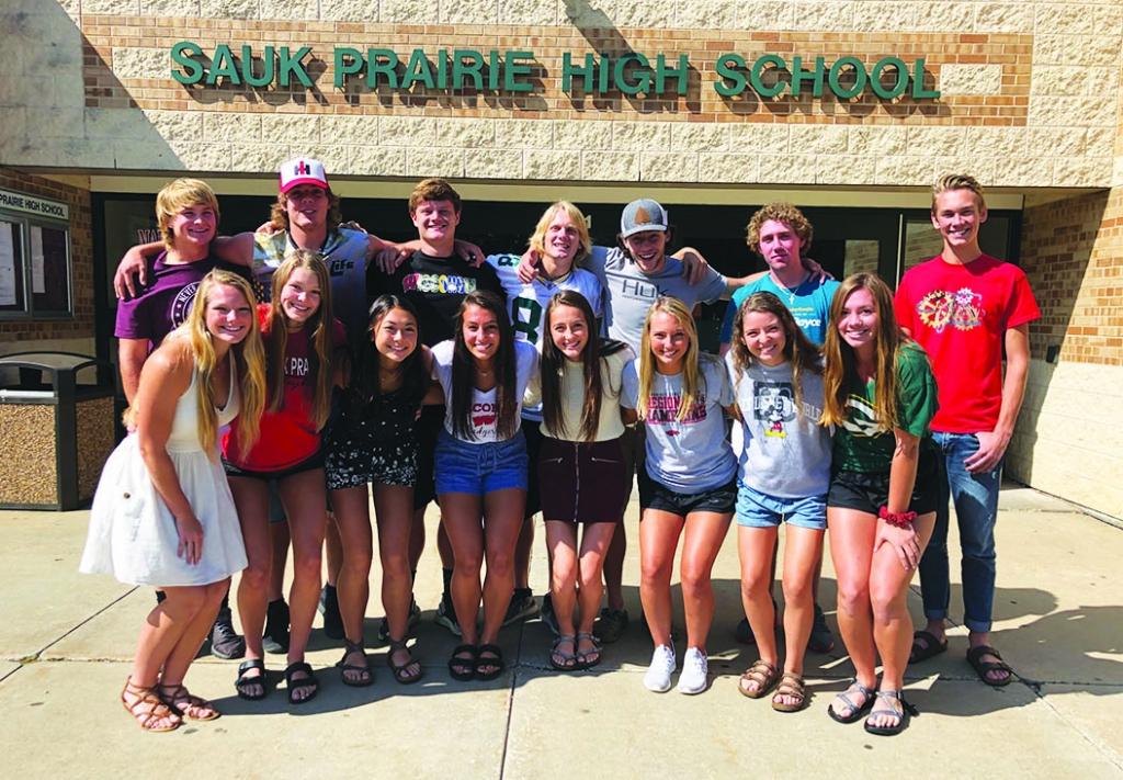 The 2019 Sauk Prairie High School Homecoming Court was:Back row:  Brooks Leister, Colby Elsing, Garrett Hertzfeldt, Parker Breunig, Dayton Goette...