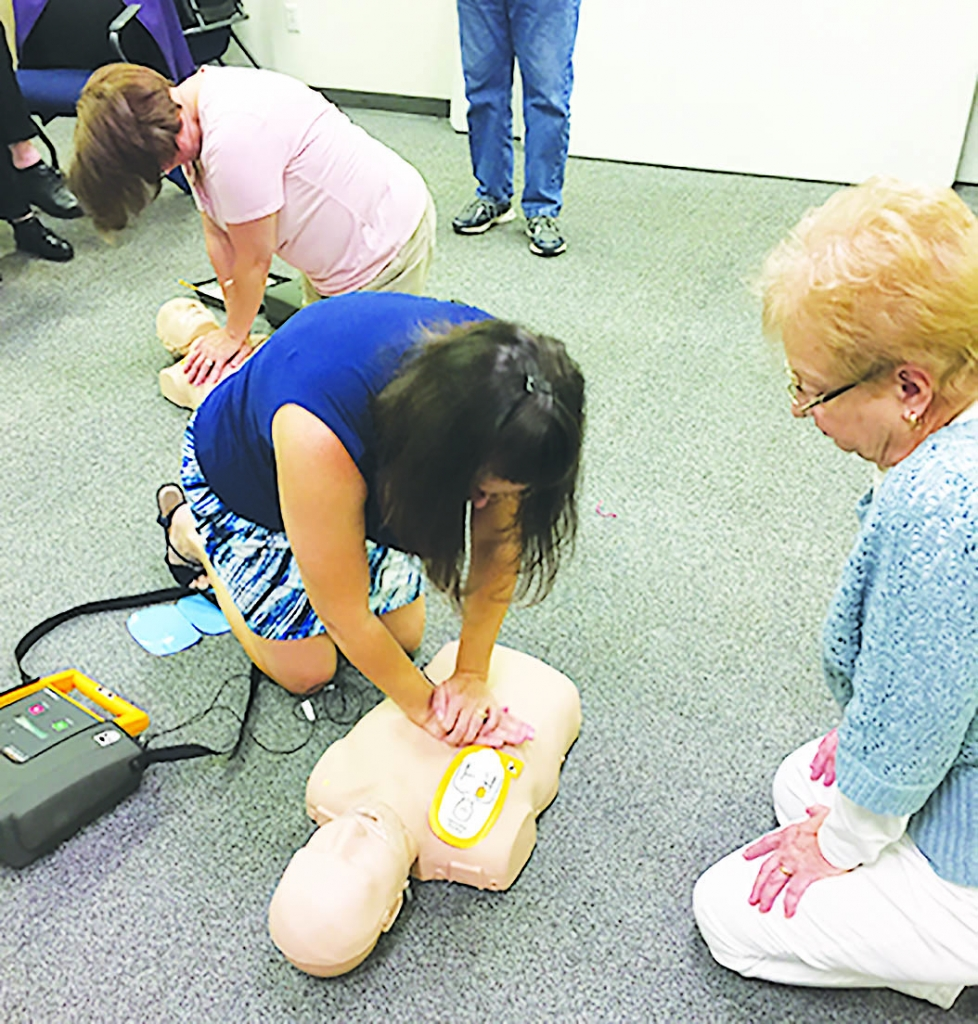 On Sept. 17, the Black Earth Police Department hosted a training with District One EMS for AED training. Pictured  are some of the participants.