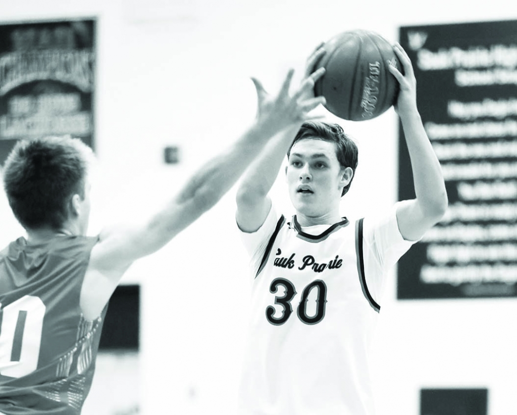 MADISON – Capped by senior forward Trevor Spray's 3-pointer as time was running out in the first half, the Sauk Prairie boys'...