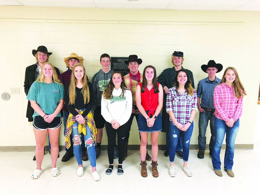 Wisconsin Heights held its homecoming last weekend, featuring dress-up week and a parade. Pictured above is the 2019 Homecoming Court on Cowboy Day...