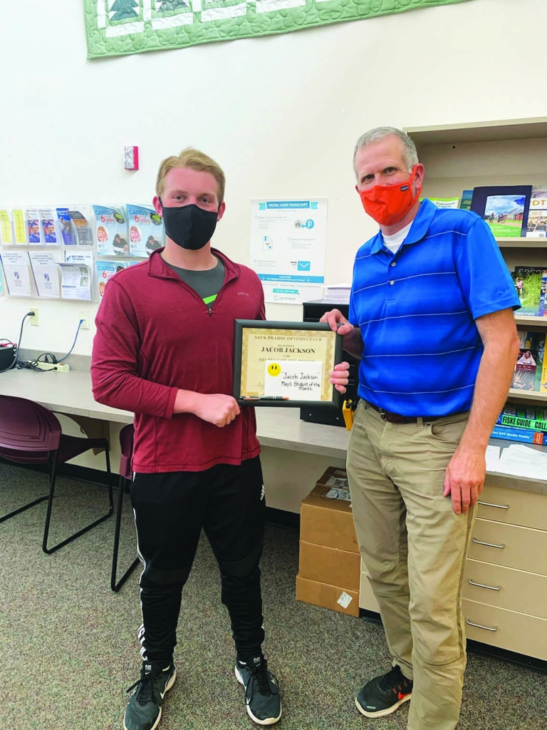 Jacob Jackson, son of Jim and Cindy Jackson, was honored on May 19 at the Sauk PrairieOptimist Zoom meeting as the May SP Optimist Club...