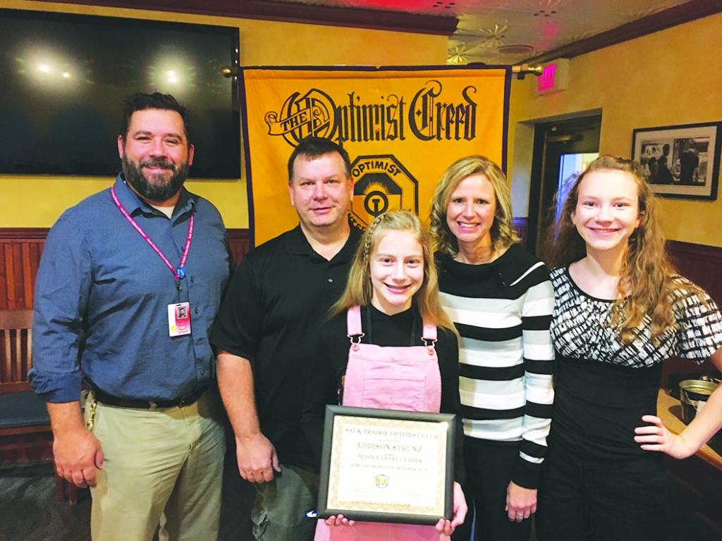 Addison Strunz is the Optimist Sauk Prairie Middle Level Leader for October 8. She is an 8th grader and the daughter of Jerry and Elizabeth Strunz....