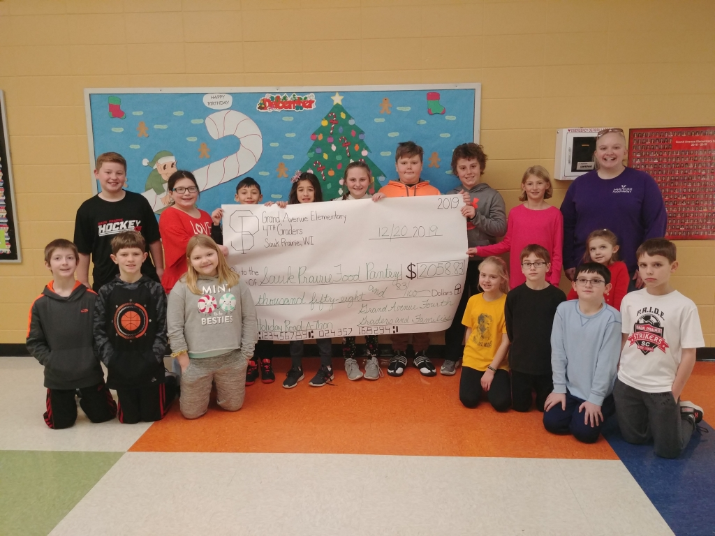 The Grand Avenue fourth grade students held a read-a-thon to raise money for the Sauk Prairie Food Pantry. Our very generous families raised $2,058....