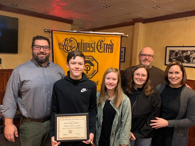 William (Will) Judge, son of Richard and Stephanie Judge and an eighth grader at Sauk Prairie Middle School, was selected as the SPMS Optimist...
