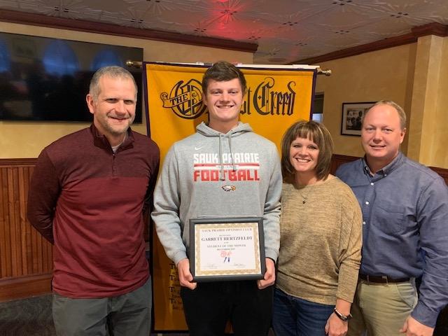 Garrett Hertzfeldt, son of Mark and Shelley Hertzfeldt, was selected by Sauk Prairie High School as the December Optimist of the Month and...